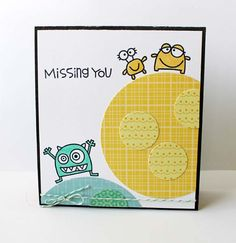 Kim Hughes creation using Paper Smooches stamps {Circle of Honor, Little Fella, Space Cadet} Owl Punch, Punch Art, Baby Cards, Kids Cards, Art Birthday, Birthday Cards, Monster Cards, Paper Smooches, Craft Corner