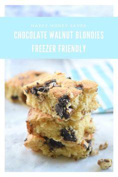 Chocolate Walnut Blondies | Freezer Friendly Recipe from Happy Money Saver.