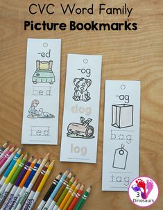 CVC Word Family Picture Bookmarks - these are great bookmarks for the visual learner that needs a little extra help. They are perfect to fit in small kids hands to take with them to learn their CVC words - 3Dinosaurs.com #cvcwordfamily #learningtoread #bookmarks #kindergarten #firstgrade Hands On Learning, Learning Tools, Kids Learning, Cvc Words, Cvc Word Families, Teaching Phonics, Vowel Sounds, Matching Cards