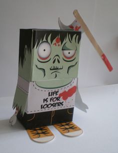 Bobby the Zombie papercraft template.