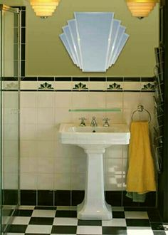 12 Ideas For Designing An Art Deco Bathroom See all our stylish art deco bathrooms design ideas. Art Deco inspired black and white design. Bathroom Mirror Design, Art Deco Bathroom, Art Deco Mirror, Bathroom Mirrors, Light Bathroom, Bathroom Lighting, Bathroom Black, House Lighting, Vanity Lighting