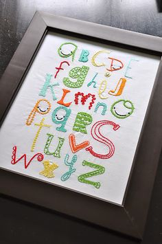 Cute for a baby room! Cross-stitch the alphabet & frame it!