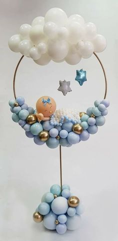 Baby Shower Centerpieces – Standout With Creative Baby Shower Decorations Baby Shower Cakes, Deco Baby Shower, Baby Shower Balloons, Girl Shower, Baby Shower Balloon Decorations, Baby Boy Balloons, Balloon Centerpieces, Birthday Decorations, Baby Shower Ideas For Boys Centerpieces