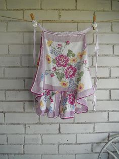vintage apron shabby chic floral apron cottage by ShabbyRoad