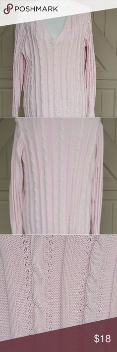 """Old Navy Pink 100% Cotton Sweater  XL ECU Pretty in Pink for a chilly spring day or evening on the town wear it with leggings or jeans for a fun spring day or with slacks for evening. Bust 21""""  length 29"""" Old Navy Sweaters V-Necks"""