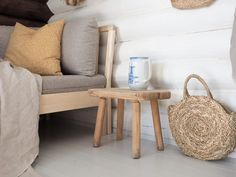 Hirsimökin muodonmuutos: saunatupa   SLIIK Hygge, Throw Pillows, Bed, Summer, Toss Pillows, Summer Time, Cushions, Stream Bed, Decorative Pillows