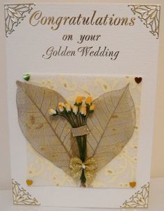 handmade 50th anniversary card golden wedding hearts and flowers