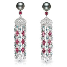 SARAFAN EARRINGS  18 carat white gold and features 2 Tahitian Pearls and white diamonds, rubies and alexandrites totalling 7.95 carats.