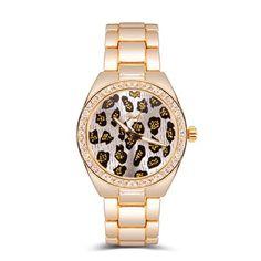 YAKI Fashion Leopardenmuster Uhren Uhr Damen Damenuhr Armbanduhr Analog Quarzuhr Gold 991-Y