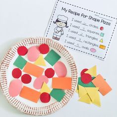 Make your own recipe for shape pizza with this fun, hands-on activity for practicing shapes and counting! Make your own recipe for shape pizza with this fun, hands-on activity for practicing shapes and counting! Shape Activities Kindergarten, Preschool Learning Activities, Preschool Lessons, Hands On Activities, Toddler Activities, Preschool Activities, Preschool Shape Activities, Hands On Learning Kindergarten, Preschool Learning Games