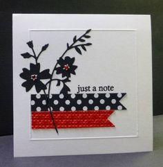 Keywords: CAS189 TLC396 CAS papertreyink memorybox  Stamps: PTI Polka Dot Basics, Daily Design Sentiments  Paper: PTI white, black; red scrap  Ink: Memento Tuxedo Black , VM  Accessories: White EP, MB die, PTI banner die, SU EF, Scor-Pal, red rhinestones