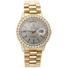 Mens Yellow Gold Rolex Day-Date President 18038 Diamond Watch CT. - Jewelry For Less Gold Diamond Watches, Diamond Jewelry, Rolex Watches, Watches For Men, Luxury Watches, Rolex Day Date, Colored Diamonds, Diamond Cuts, 18k Gold