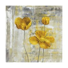 Square, large wall art docor of three yellow flowers with stems on a sponge like. Art Paintings, Painting Prints, Art Prints, Plant Drawing, Drawing Flowers, Flower Drawings, Canvas Artwork, Canvas Prints, Acrylic Flowers