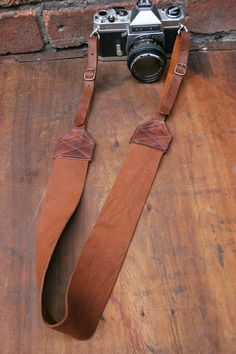 Size (1) Leather Buckled Camera Neck Strap in Cocoa Dust Brown Handcrafted…
