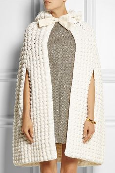 Saint Laurent | Hooded crocheted wool-blend cape | NET-A-PORTER.COM