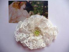 Shabby Blume Vintage Nostalgie Retro Spitze Perlen Hochzeit Landhaus Handarbeit