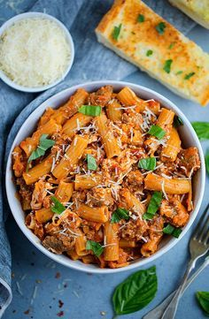 Rigatoni Pasta With Sausage, Marinara Sauce, Cheese, And Fresh Basil Is The Perfect Recipe For An Easy, Delicious Weeknight Dinner. Sausage Pasta Recipes, Easy Pasta Recipes, Cooking Recipes, Noodle Recipes, Cooking Ideas, Salad Recipes, Simple Green Salad, Pasta Dishes, Meals