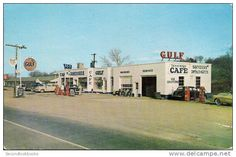 Gulf Oil Service Gas Station 1950s