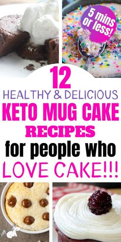 These keto mug cakes will help you stay in ketosis & satisfy your sweet tooth easily with recipes from keto cinnamon roll mug cake to keto vanilla mug cake! Easy Mug Cake, Mug Cake Healthy, Keto Mug Cake, Healthy Cake Recipes, Snack Recipes, Dessert Recipes, Keto Recipes, Keto Foods, Keto Meal