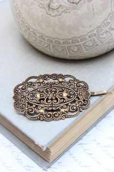 Filigree Bobby Pin Antique Brass Lace Hair