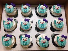 Teal Owl Cupcakes
