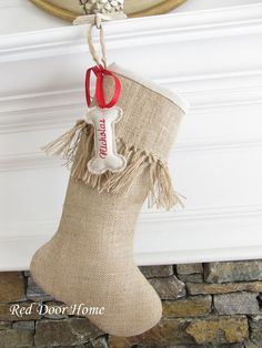 Dog Pet Personalized Embroidered Burlap Christmas by RedDoorHome, $46.00