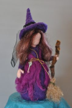 Needle Felted Doll Waldorf -Halloween Decoration-Autumn Nature Table-Witch- standing doll-needle felt by Daria Lvovsky--Ready to ship. $42.00, via Etsy.