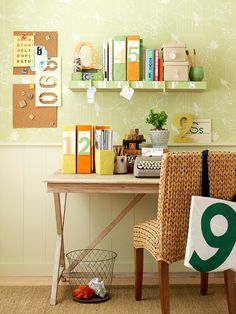 Hang notes with clothespins. A shelf doubles as a note board for daily reminders.