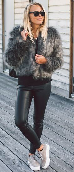 Janni Deler Gray Fluffy Jacket Fall Street Style Inspo #Fashionistas