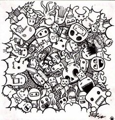 monster doodles Colouring Pages
