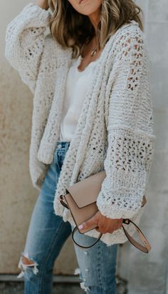 #fall #outfits women's white knitted cardigan