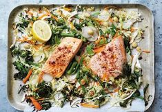 Simply toss all your ingredients onto the one pan to make dinnertime a breeze. Healthy Side Dishes, Easy Healthy Dinners, Healthy Dinner Recipes, Sam Wood, Fish Dishes, Cookbook Recipes, One Pot Meals, Healthy Eating, Stuffed Peppers