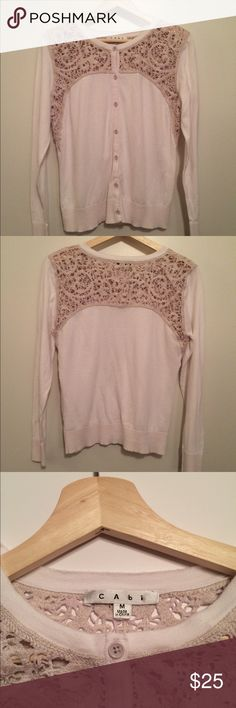 CABI Cardigan Lace detail medium Such a pretty sweater to wear buttoned up or open. Pretty lace front & back. Smoke free & pet free home . CABI Sweaters Cardigans