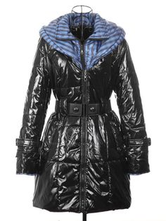Stylish Stand Neck Long Sleeves Hooded Double Collar With Belt PU Leather Padded Coat