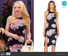 Liv's black and pink rose print dress on Liv and Maddie.  Outfit Details: https://wornontv.net/66447/ #LivandMaddie