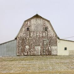 """Untitled [Barn with lean-to's, North elevation, Southern Iowa] Photography: 2006 Matt Niebuhr one from the series self published in first draft form here: """"Portraits: Faces and Profiles of Utility"""""""