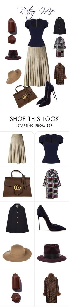 """Retro"" by tsma ❤ liked on Polyvore featuring CÉLINE, Roland Mouret, Gucci, N-DUO, Yves Saint Laurent, Casadei, Armani Jeans, Nick Fouquet and Jean-Paul Gaultier"