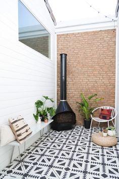 Outdoor tile we love Patio Tiles, Outdoor Tiles, Outdoor Spaces, Outdoor Living, Outdoor Decor, Cement Tiles, Outdoor Oven, Outdoor Kitchens, Outdoor Patterned Tiles