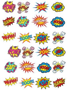 24 Superhero Retro Pow Zap Comic Book Style Edible Wafer Paper Cupcake Toppers