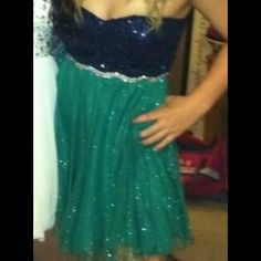 Deb homecoming dress! Green and blue sparkles dress, worn 3 times, great condition. Deb Dresses Strapless