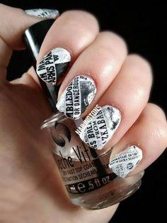 Harry Potter Newspaper Nails, Cool Newspaper Nail Art Ideas, http://hative.com/cool-newspaper-nail-art-ideas/,: