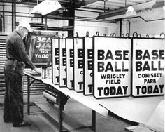 Making game day signs for the CTA, 1967, Chicago.