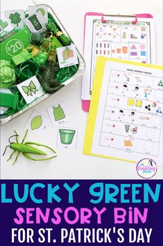 Need an activity to cover mixed groups for St. Patrick's Day? Go around your speech room and find your green toys and items. Throw them in a sensory bin and now you have the perfect speech and language sensory bin. Use this lucky green sensory bin to target grammar, vocabulary, describing, and articulation and phonology. Preschool Speech Therapy, Speech Therapy Activities, March Lesson Plans, Alphabet Sounds, Prepositional Phrases, Lakeshore Learning, Green Toys, Speech Room, Sensory Bins