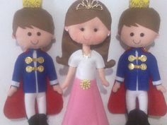 Bonecos em feltro, 100% feitos à mão, tema reis, príncipes e princesa. Faço outros temas também.