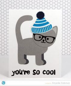 Hipster Cool Cat Card by Amanda Coleman | Editing points tutorial