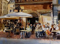 """Daily Paintworks - """"Sunlit Cafe - Strasbourg"""" by David Morris"""