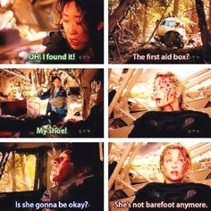 Cristina: OH! I found it! Arizona: The first aid box? Cristina: My shoe! Derek: Is she gonna be okay? Arizona: She's not barefoot anymore. Grey's Anatomy quotes; season 8 finale