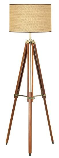 $190 - Pacific Coast Lighting Tripod Floor Lamp, Walnut Finish with Beige Fabric Shade