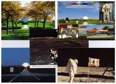 Postcard Collection #2 | Armstrong Air and Space Museum. Museum at night, museum in autumn, Lunar Module in flight, Astronaut on lunar surface, and museum collage.