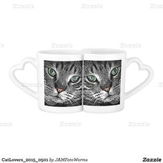 #CatLovers_2015_0501 #JAMFotoWorms #Zazzle.com - Cat-Portraits with different arrangements on both sides - at one side both faces look to each other, at the other side both faces look the opposite way...